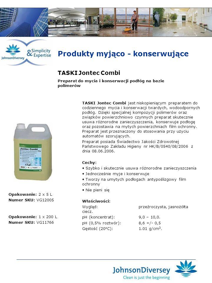 TASKI Jontec Combi TASKI Jontec Combi jest niskopieniącym preparatem do codziennego mycia i konserwacji twardych, wodoodpornych podłóg. Dzięki specjal