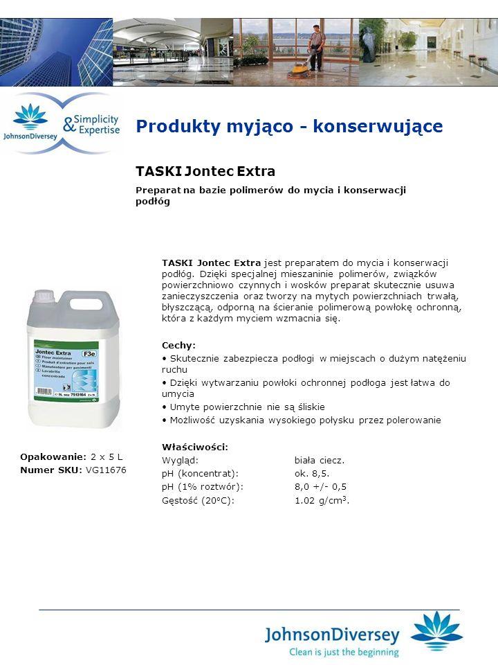 TASKI Jontec Extra TASKI Jontec Extra jest preparatem do mycia i konserwacji podłóg. Dzięki specjalnej mieszaninie polimerów, związków powierzchniowo