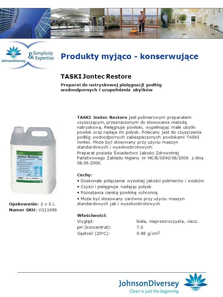 TASKI Jontec Restore TASKI Jontec Restore jest polimerowym preparatem czyszczącym, przeznaczonym do stosowania metodą natryskową. Pielęgnuje powłoki,