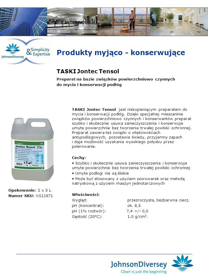 TASKI Jontec Tensol TASKI Jontec Tensol jest niskopieniącym preparatem do mycia i konserwacji podłóg. Dzięki specjalnej mieszaninie związków powierzch