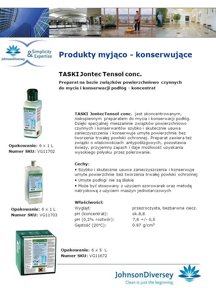 TASKI Jontec Tensol conc. TASKI JontecTensol conc. jest skoncentrowanym, niskopiennym preparatem do mycia i konserwacji podłóg. Dzięki specjalnej mies
