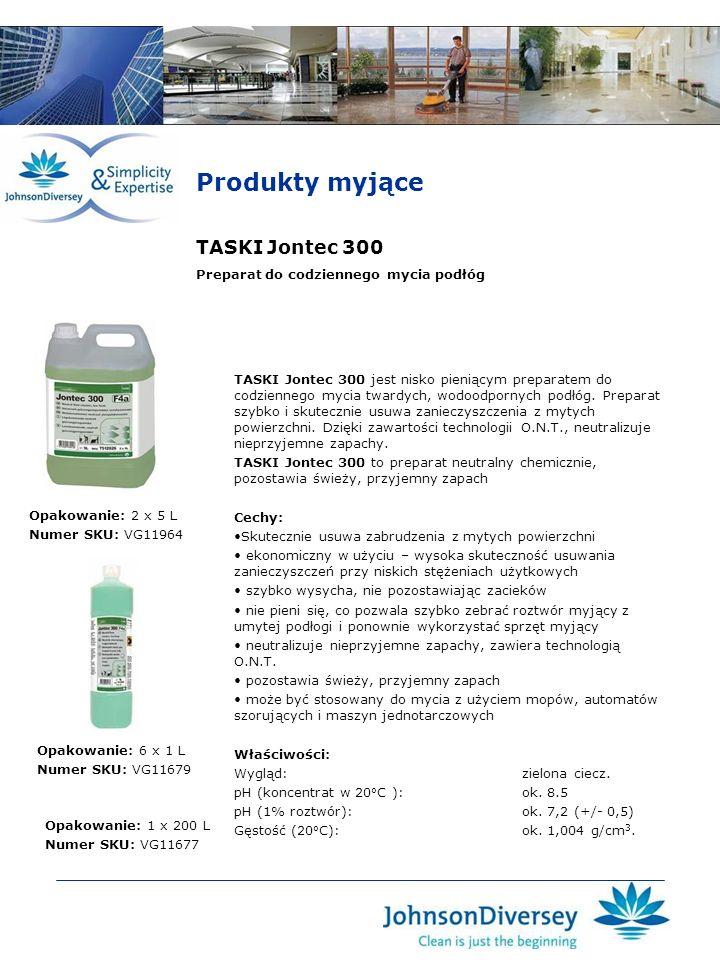 Produkty myjące TASKI Jontec 300 TASKI Jontec 300 jest nisko pieniącym preparatem do codziennego mycia twardych, wodoodpornych podłóg. Preparat szybko