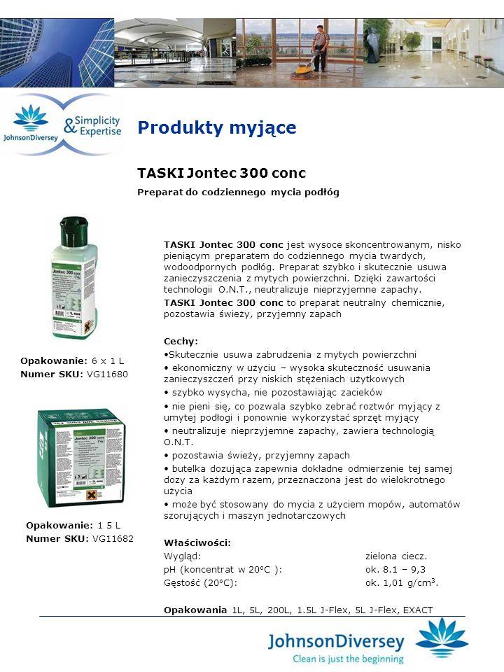 TASKI Jontec 300 conc TASKI Jontec 300 conc jest wysoce skoncentrowanym, nisko pieniącym preparatem do codziennego mycia twardych, wodoodpornych podłó