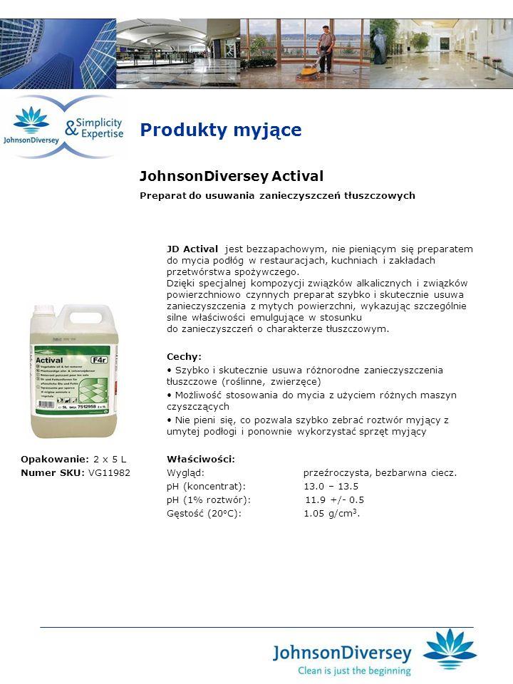 JohnsonDiversey Actival JD Actival jest bezzapachowym, nie pieniącym się preparatem do mycia podłóg w restauracjach, kuchniach i zakładach przetwórstw