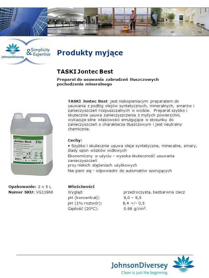 TASKI Jontec Best TASKI Jontec Best jest niskopieniacym preparatem do usuwania z podłóg olejów syntetycznych, mineralnych, smarów i zanieczyszczeń roz