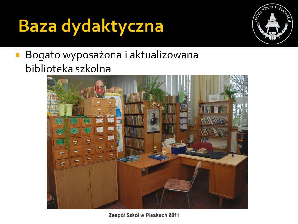 Bogato wyposażona i aktualizowana biblioteka szkolna Zespół Szkół w Piaskach 2011