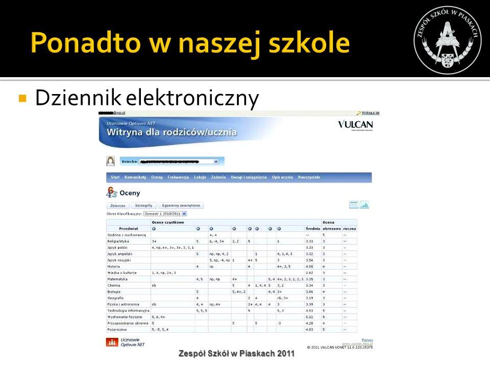 Dziennik elektroniczny Zespół Szkół w Piaskach 2011