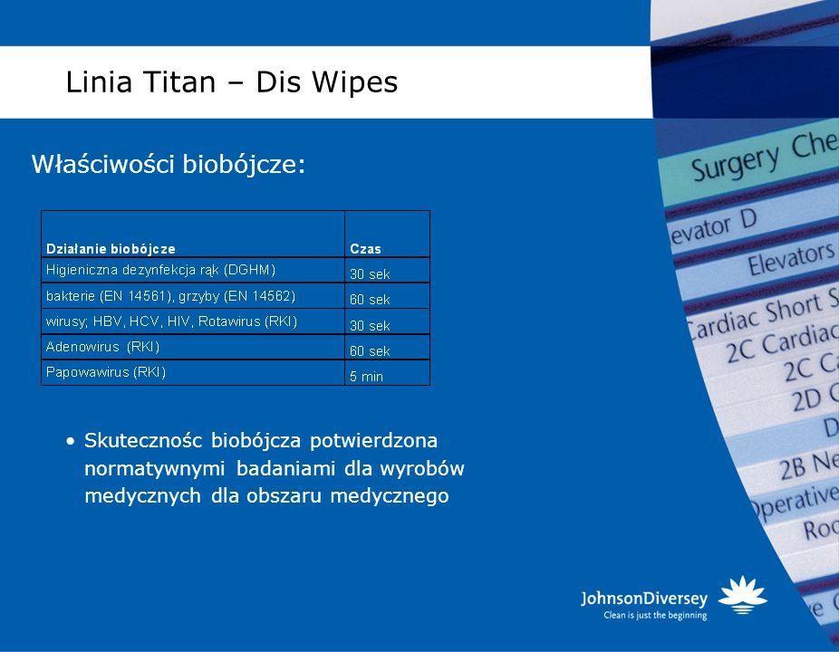 Linia Titan – Dis Wipes Właściwości biobójcze: Skutecznośc biobójcza potwierdzona normatywnymi badaniami dla wyrobów medycznych dla obszaru medycznego