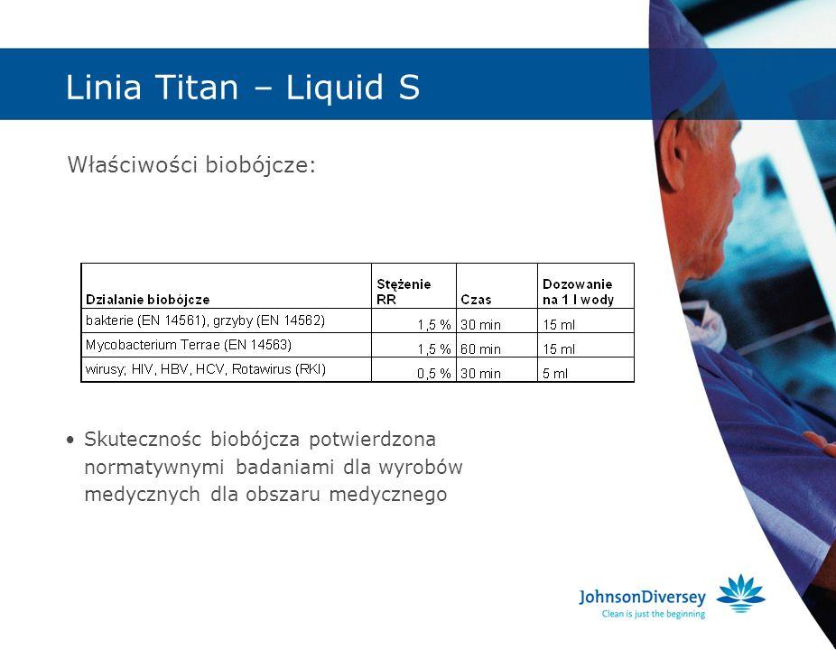 Linia Titan – Liquid S Właściwości biobójcze: Skutecznośc biobójcza potwierdzona normatywnymi badaniami dla wyrobów medycznych dla obszaru medycznego