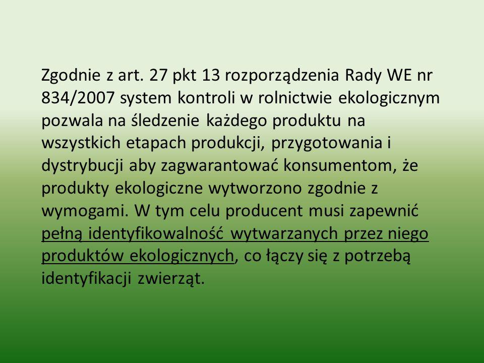 Zgodnie z art. 27 pkt 13 rozporządzenia Rady WE nr 834/2007 system kontroli w rolnictwie ekologicznym pozwala na śledzenie każdego produktu na wszystk
