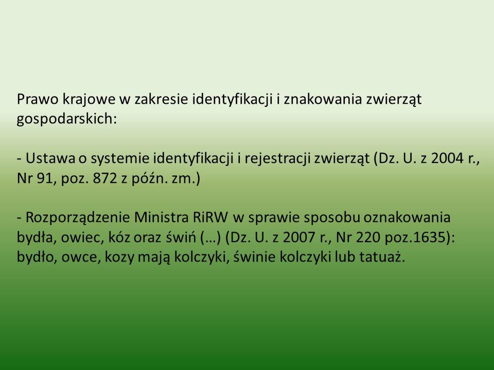 Prawo krajowe w zakresie identyfikacji i znakowania zwierząt gospodarskich: - Ustawa o systemie identyfikacji i rejestracji zwierząt (Dz. U. z 2004 r.