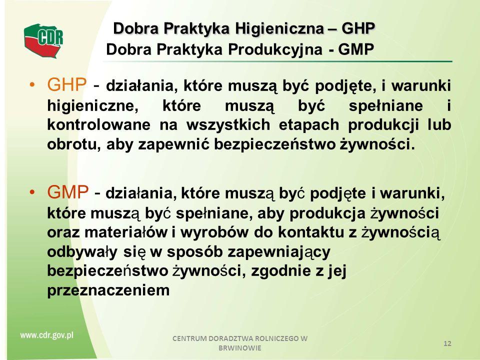 Dobra Praktyka Higieniczna – GHP Dobra Praktyka Higieniczna – GHP Dobra Praktyka Produkcyjna - GMP GHP - działania, które muszą być podjęte, i warunki