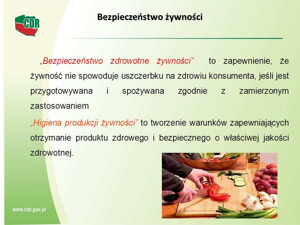 Bezpieczeństwo żywności Bezpieczeństwo zdrowotne żywności to zapewnienie, że żywność nie spowoduje uszczerbku na zdrowiu konsumenta, jeśli jest przygo