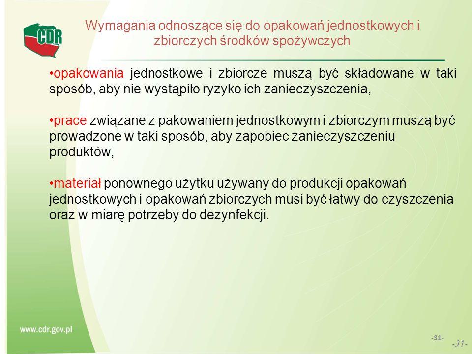 -31- Wymagania odnoszące się do opakowań jednostkowych i zbiorczych środków spożywczych opakowania jednostkowe i zbiorcze muszą być składowane w taki