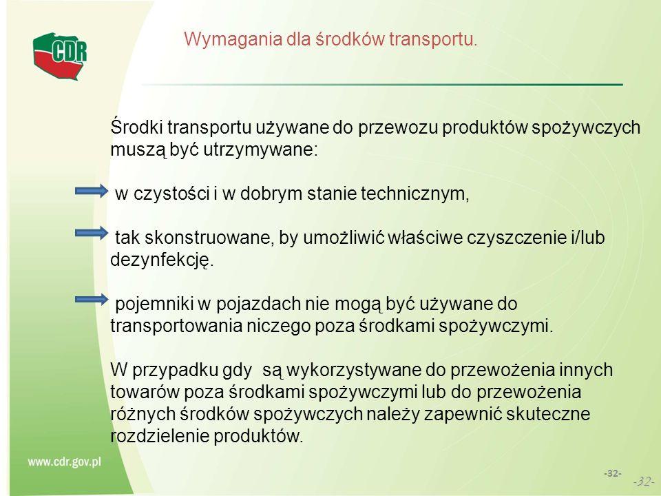 Wymagania dla środków transportu. Środki transportu używane do przewozu produktów spożywczych muszą być utrzymywane: w czystości i w dobrym stanie tec