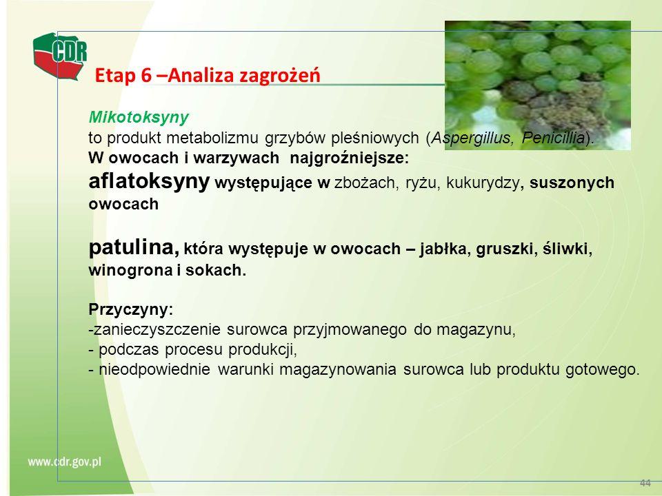Etap 6 –Analiza zagrożeń Mikotoksyny to produkt metabolizmu grzybów pleśniowych (Aspergillus, Penicillia). W owocach i warzywach najgroźniejsze: aflat