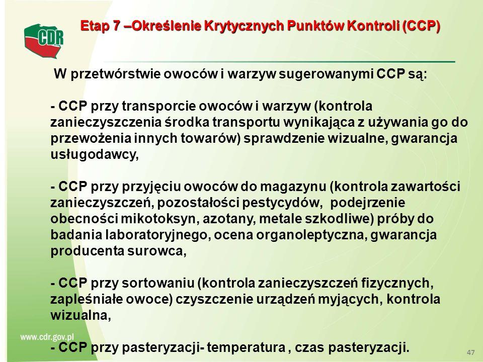 Etap 7 –Określenie Krytycznych Punktów Kontroli (CCP) Etap 7 –Określenie Krytycznych Punktów Kontroli (CCP) W przetwórstwie owoców i warzyw sugerowany