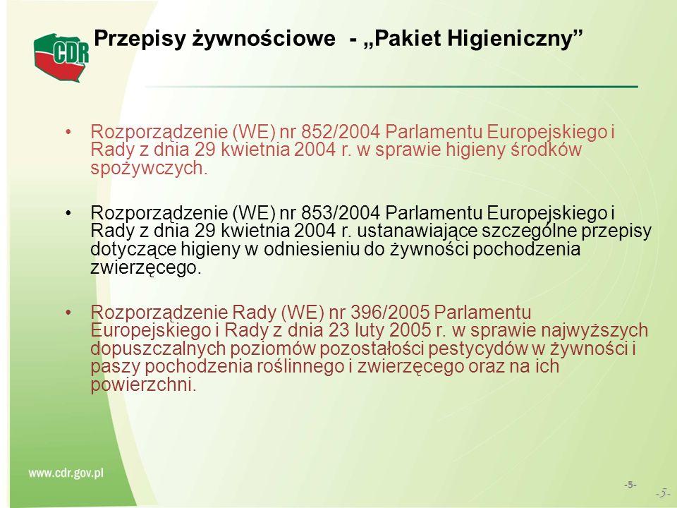 Przepisy żywnościowe - Pakiet Higieniczny Rozporządzenie (WE) nr 852/2004 Parlamentu Europejskiego i Rady z dnia 29 kwietnia 2004 r. w sprawie higieny