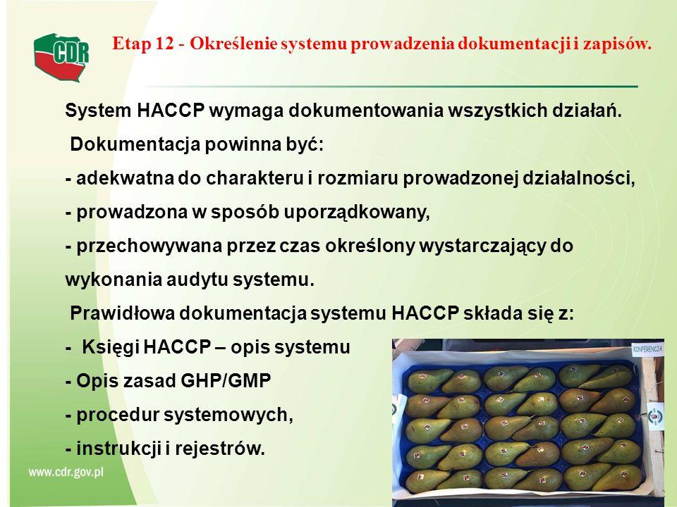 Etap 12 - Określenie systemu prowadzenia dokumentacji i zapisów. System HACCP wymaga dokumentowania wszystkich działań. Dokumentacja powinna być: - ad