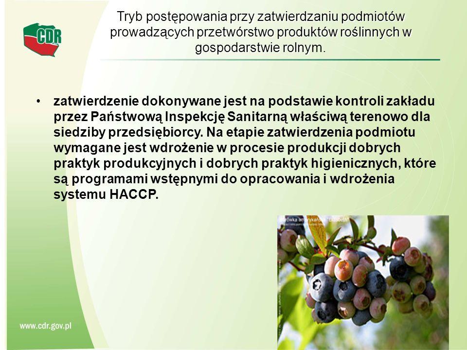 Tryb postępowania przy zatwierdzaniu podmiotów prowadzących przetwórstwo produktów roślinnych w gospodarstwie rolny Tryb postępowania przy zatwierdzan
