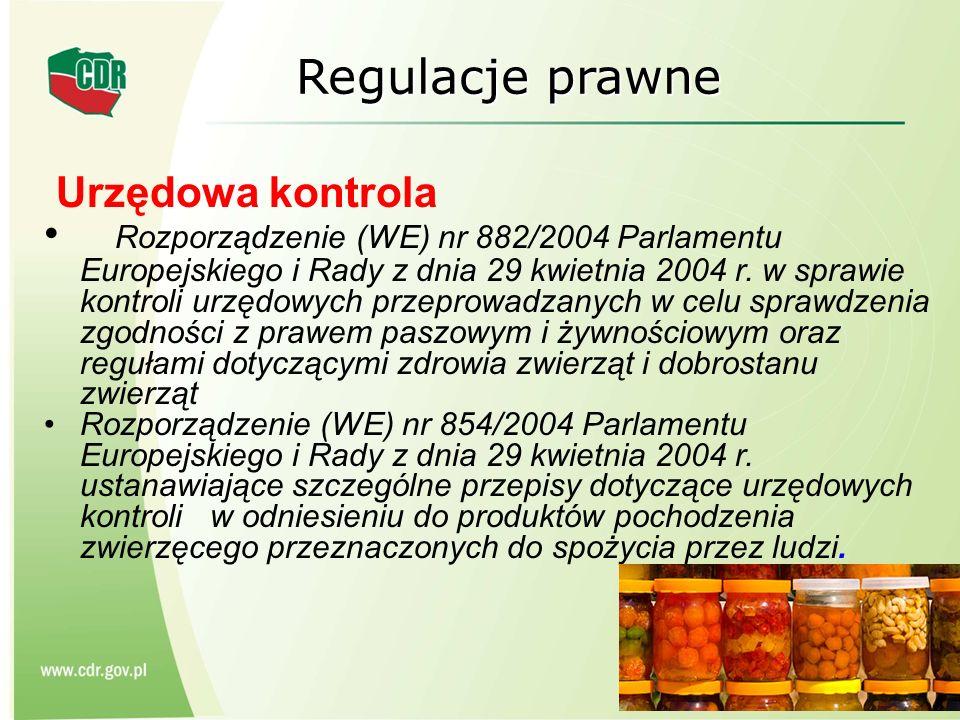 Regulacje prawne Urzędowa kontrola Rozporządzenie (WE) nr 882/2004 Parlamentu Europejskiego i Rady z dnia 29 kwietnia 2004 r. w sprawie kontroli urzęd