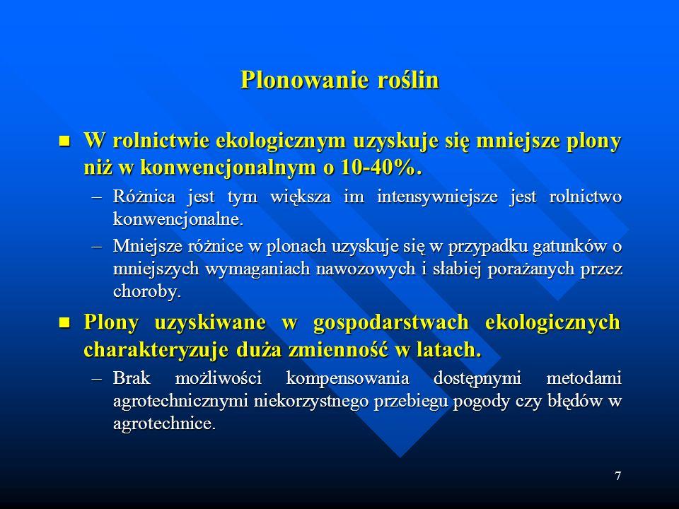 7 Plonowanie roślin W rolnictwie ekologicznym uzyskuje się mniejsze plony niż w konwencjonalnym o 10-40%. W rolnictwie ekologicznym uzyskuje się mniej