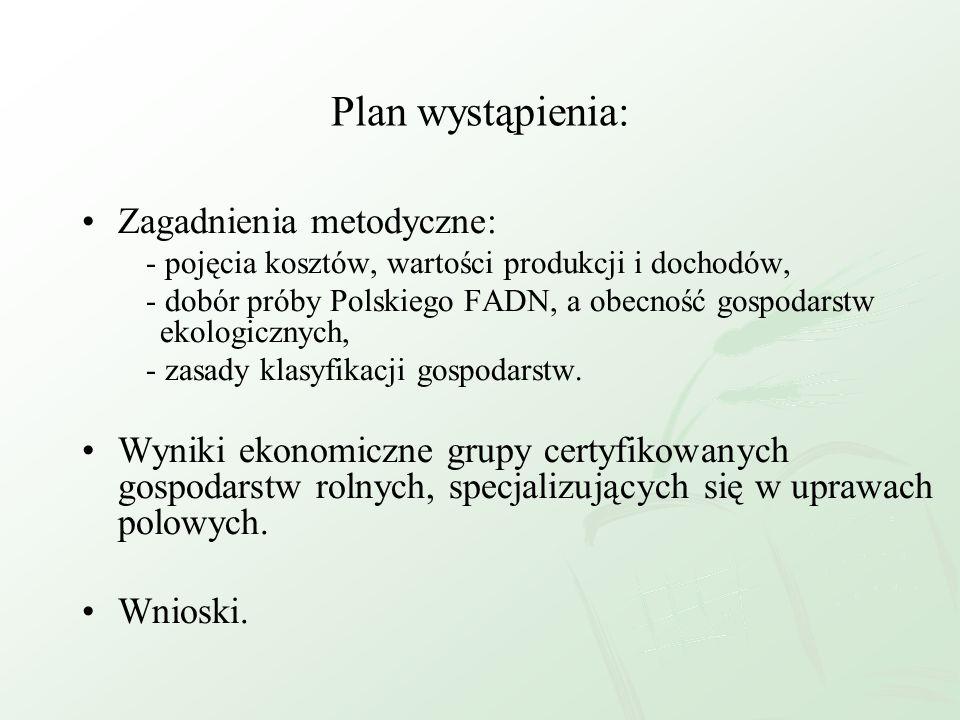 Plan wystąpienia: Zagadnienia metodyczne: - pojęcia kosztów, wartości produkcji i dochodów, - dobór próby Polskiego FADN, a obecność gospodarstw ekolo