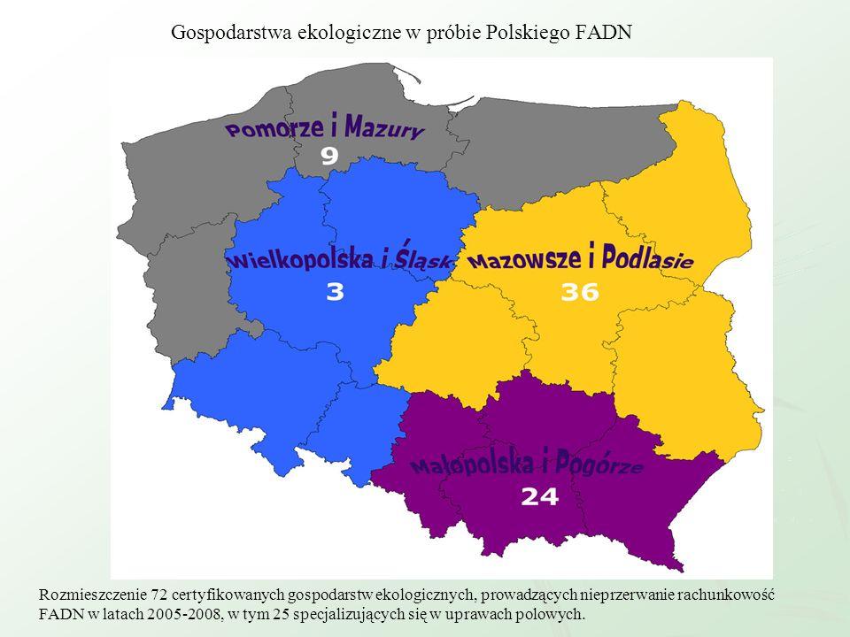 Gospodarstwa ekologiczne w próbie Polskiego FADN Rozmieszczenie 72 certyfikowanych gospodarstw ekologicznych, prowadzących nieprzerwanie rachunkowość