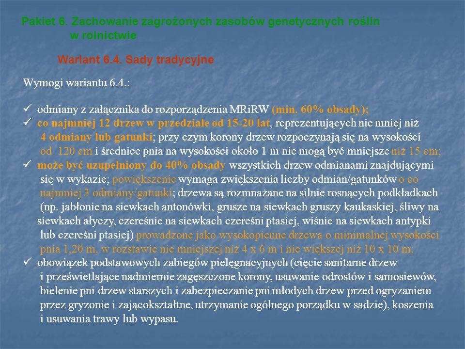 Pakiet 6. Zachowanie zagrożonych zasobów genetycznych roślin w rolnictwie Wariant 6.4. Sady tradycyjne Wymogi wariantu 6.4.: odmiany z załącznika do r