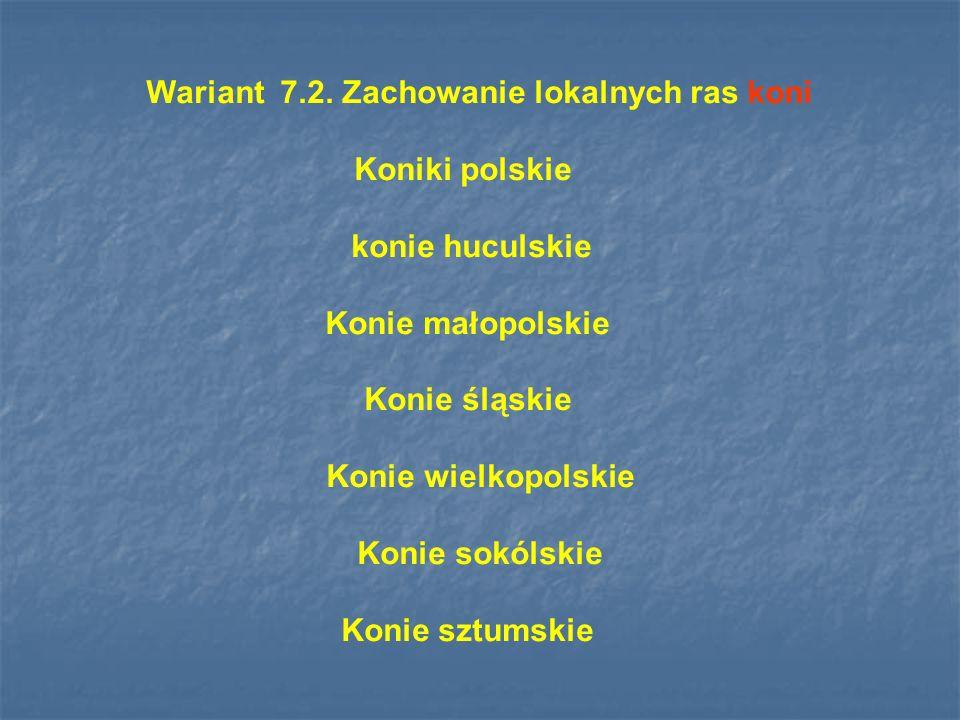 Wariant 7.2. Zachowanie lokalnych ras koni Koniki polskie konie huculskie Konie małopolskie Konie śląskie Konie wielkopolskie Konie sokólskie Konie sz