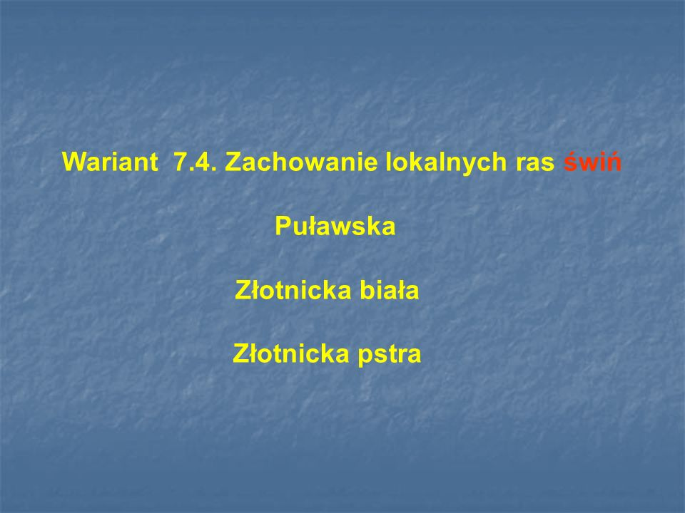 Wariant 7.4. Zachowanie lokalnych ras świń Puławska Złotnicka biała Złotnicka pstra
