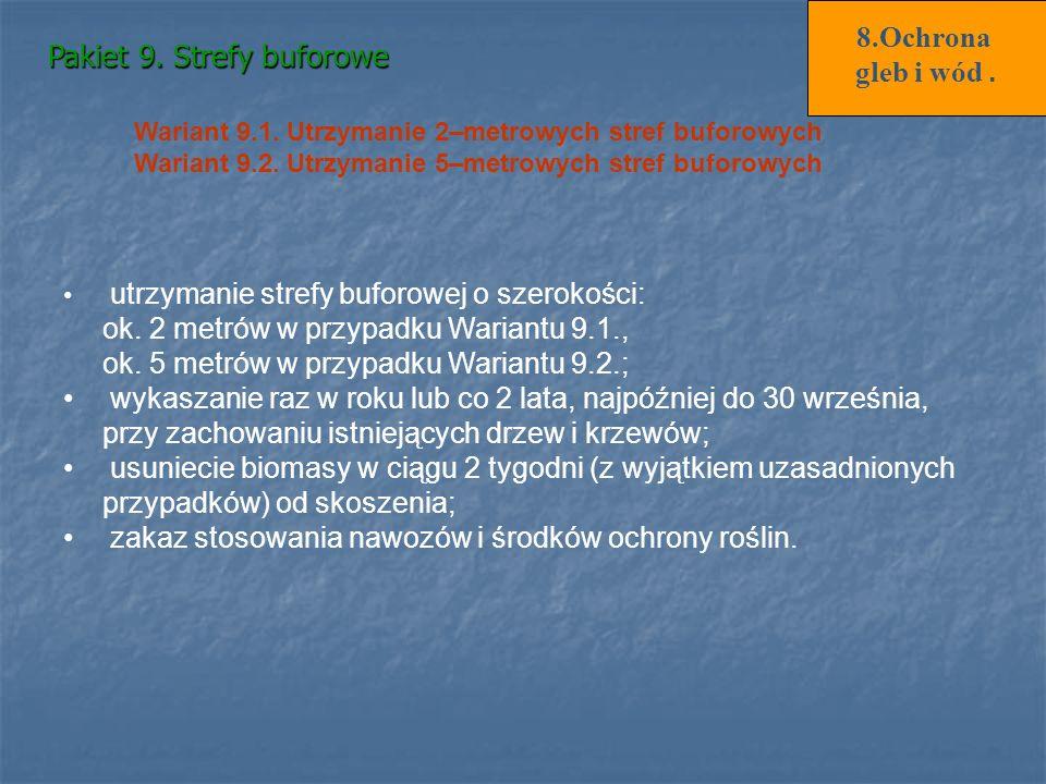 Pakiet 9. Strefy buforowe Wariant 9.1. Utrzymanie 2–metrowych stref buforowych Wariant 9.2. Utrzymanie 5–metrowych stref buforowych utrzymanie strefy