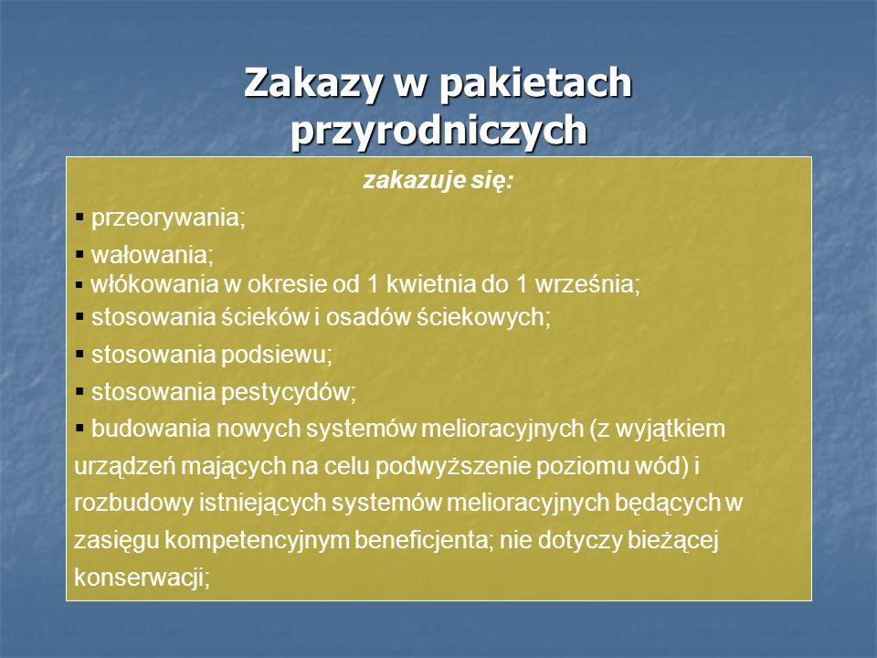 Zakazy w pakietach przyrodniczych zakazuje się: przeorywania; wałowania; włókowania w okresie od 1 kwietnia do 1 września; stosowania ścieków i osadów