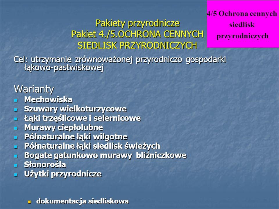 Pakiety przyrodnicze Pakiet 4./5.OCHRONA CENNYCH SIEDLISK PRZYRODNICZYCH Cel: utrzymanie zrównoważonej przyrodniczo gospodarki łąkowo-pastwiskowej War