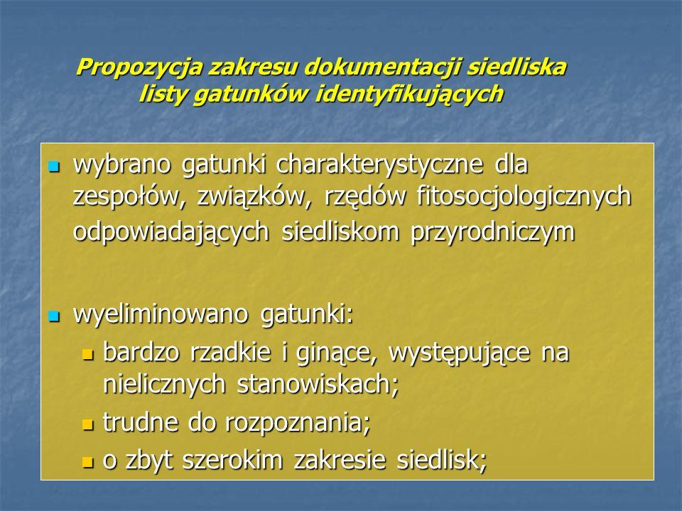 Propozycja zakresu dokumentacji siedliska listy gatunków identyfikujących wybrano gatunki charakterystyczne dla zespołów, związków, rzędów fitosocjolo
