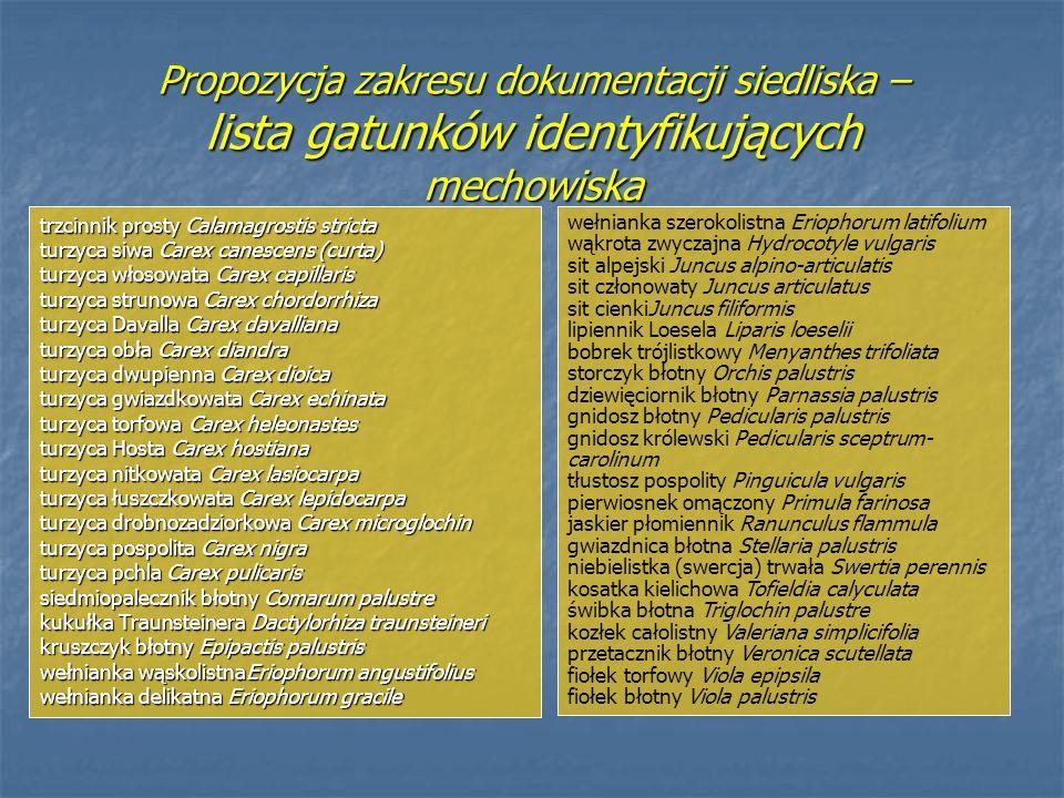 Propozycja zakresu dokumentacji siedliska – lista gatunków identyfikujących mechowiska trzcinnik prosty Calamagrostis stricta turzyca siwa Carex canes