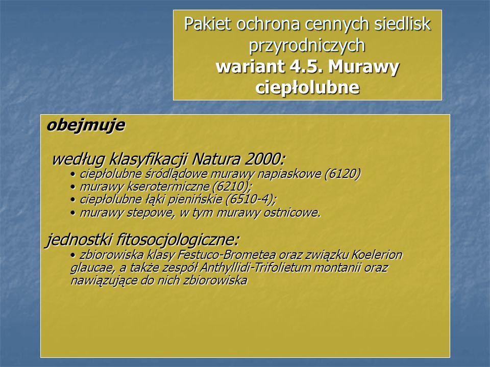 Pakiet ochrona cennych siedlisk przyrodniczych wariant 4.5. Murawy ciepłolubne obejmuje według klasyfikacji Natura 2000: według klasyfikacji Natura 20