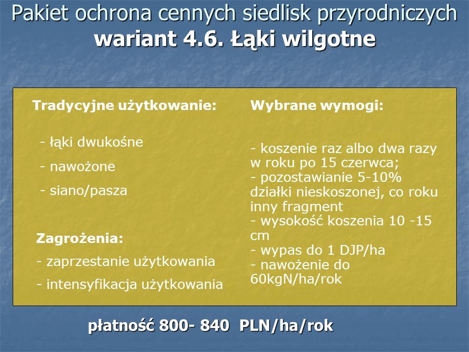 Pakiet ochrona cennych siedlisk przyrodniczych wariant 4.6. Łąki wilgotne Tradycyjne użytkowanie: - łąki dwukośne - nawożone - siano/pasza Zagrożenia:
