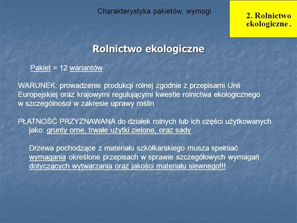 Charakterystyka pakietów, wymogi Rolnictwo ekologiczne Rolnictwo ekologiczne WARUNEK: prowadzenie produkcji rolnej zgodnie z przepisami Unii Europejsk