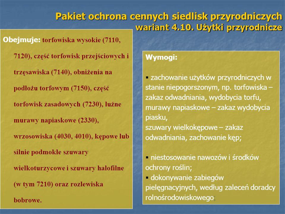 Pakiet ochrona cennych siedlisk przyrodniczych wariant 4.10. Użytki przyrodnicze Obejmuje: torfowiska wysokie (7110, 7120), część torfowisk przejściow