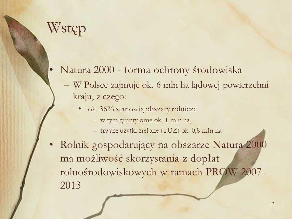 17 Wstęp Natura 2000 - forma ochrony środowiska –W Polsce zajmuje ok. 6 mln ha lądowej powierzchni kraju, z czego: ok. 36% stanowią obszary rolnicze –