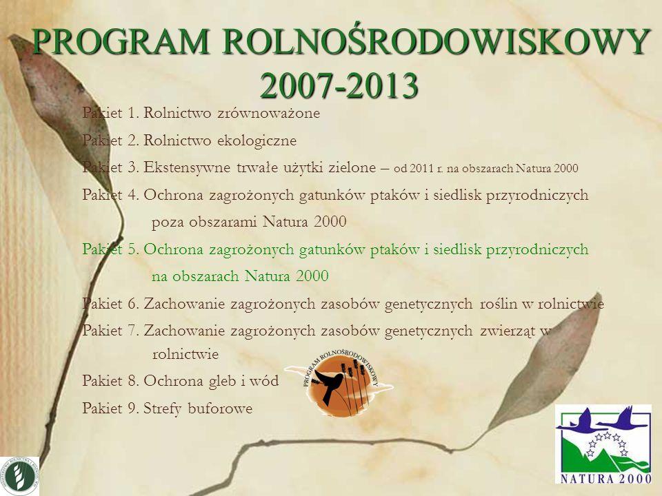 18 Pakiet 1. Rolnictwo zrównoważone Pakiet 2. Rolnictwo ekologiczne Pakiet 3. Ekstensywne trwałe użytki zielone – od 2011 r. na obszarach Natura 2000