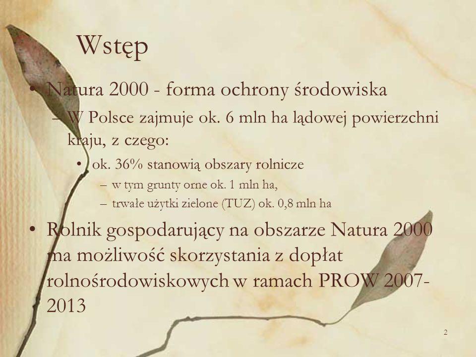 2 Wstęp Natura 2000 - forma ochrony środowiska –W Polsce zajmuje ok. 6 mln ha lądowej powierzchni kraju, z czego: ok. 36% stanowią obszary rolnicze –w