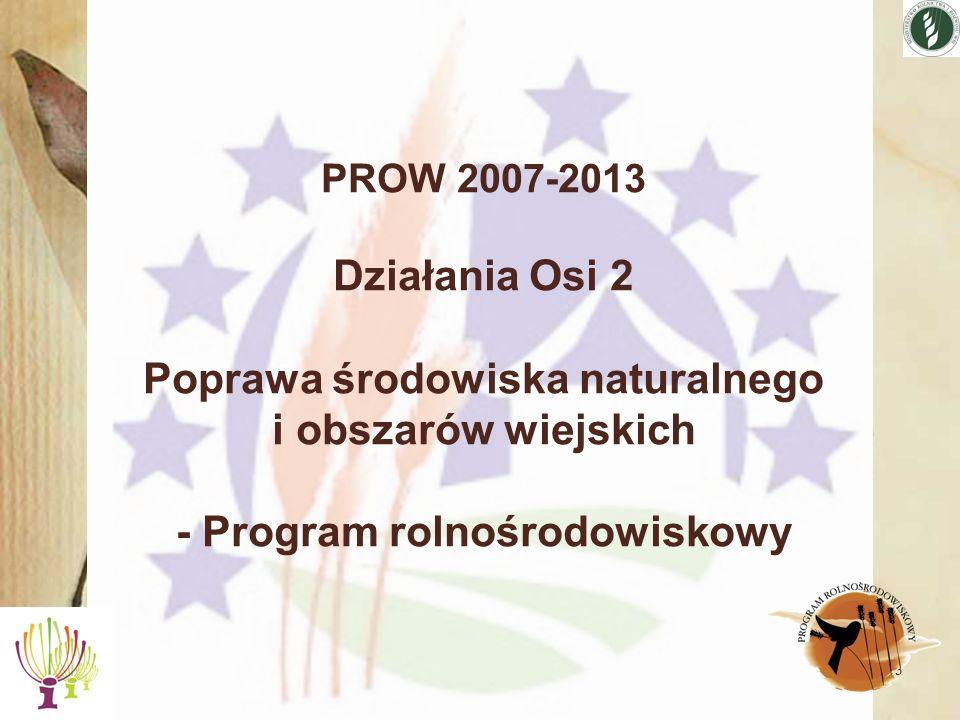 3 PROW 2007-2013 Działania Osi 2 Poprawa środowiska naturalnego i obszarów wiejskich - Program rolnośrodowiskowy