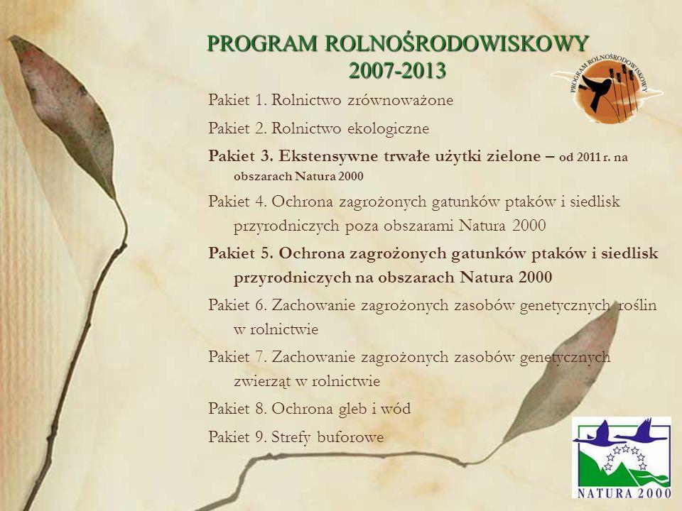 55 Pakiet 1. Rolnictwo zrównoważone Pakiet 2. Rolnictwo ekologiczne Pakiet 3. Ekstensywne trwałe użytki zielone – od 2011 r. na obszarach Natura 2000