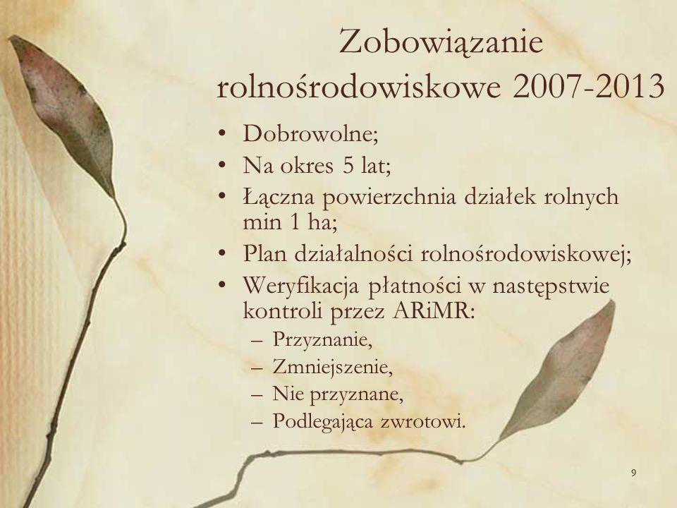 99 Zobowiązanie rolnośrodowiskowe 2007-2013 Dobrowolne; Na okres 5 lat; Łączna powierzchnia działek rolnych min 1 ha; Plan działalności rolnośrodowisk