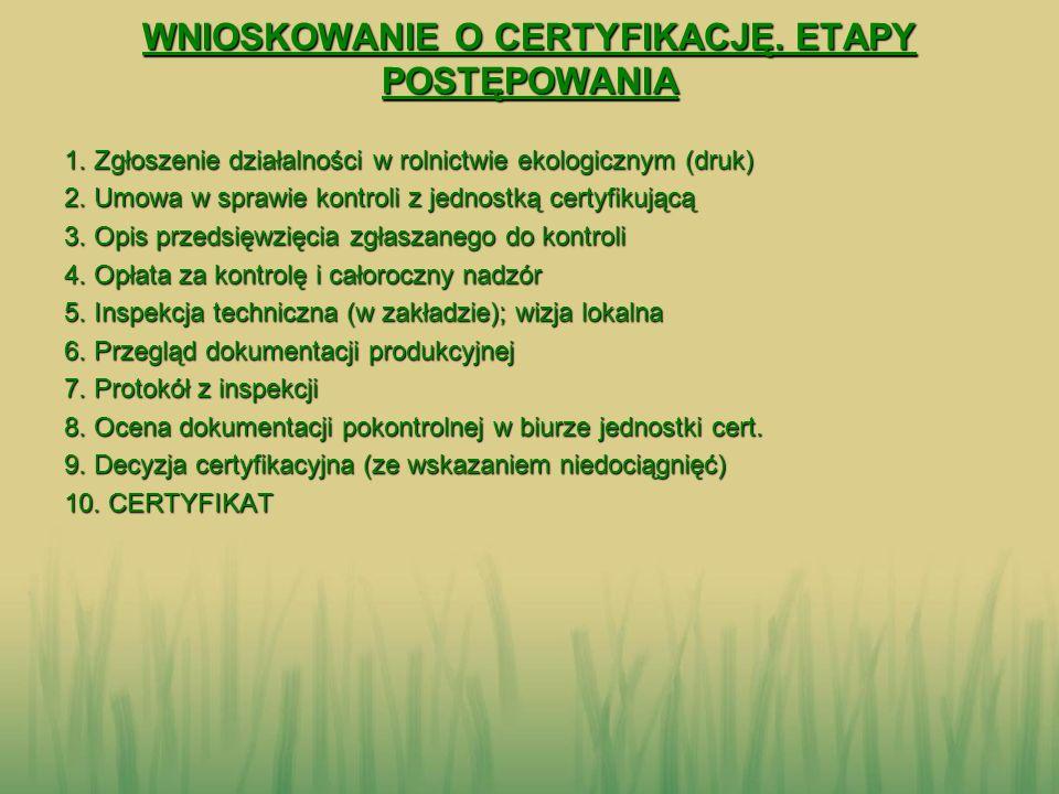 WNIOSKOWANIE O CERTYFIKACJĘ. ETAPY POSTĘPOWANIA 1. Zgłoszenie działalności w rolnictwie ekologicznym (druk) 2. Umowa w sprawie kontroli z jednostką ce