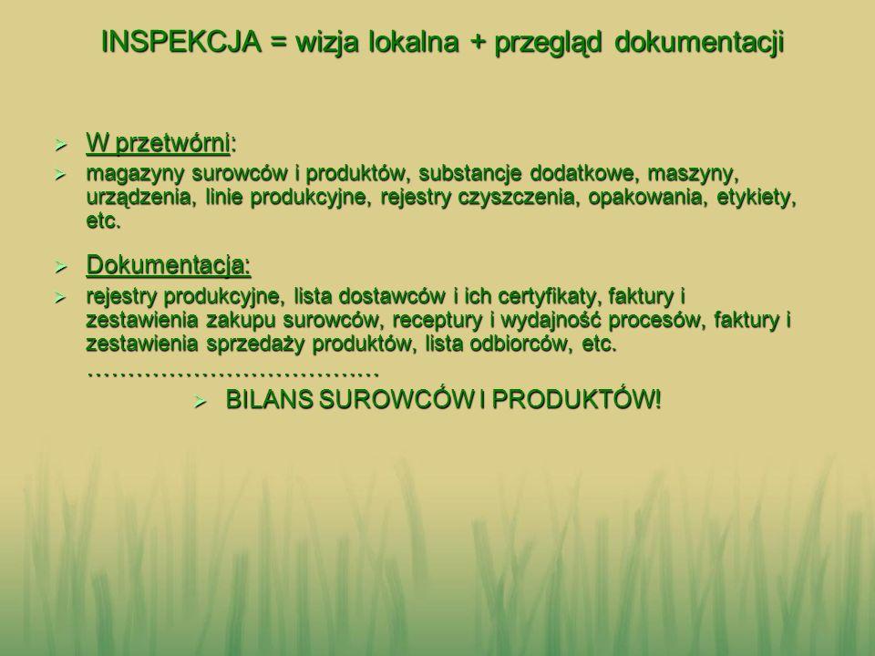 INSPEKCJA = wizja lokalna + przegląd dokumentacji INSPEKCJA = wizja lokalna + przegląd dokumentacji W przetwórni: W przetwórni: magazyny surowców i pr