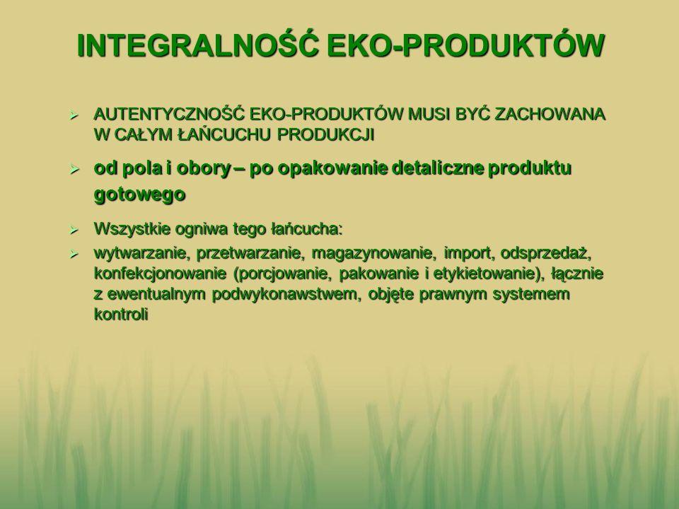 CELE SYSTEMU KONTROLI W ROLNICTWIE EKOLOGICZNYM CELE SYSTEMU KONTROLI W ROLNICTWIE EKOLOGICZNYM stosowanie jednolitego standardu eko-produkcji stosowanie jednolitego standardu eko-produkcji uwiarygodnienie producentów i ich eko-produktów uwiarygodnienie producentów i ich eko-produktów wspieranie ochrony środowiska i bioróżnorodności wspieranie ochrony środowiska i bioróżnorodności ZAUFANIE JEST DOBRE, ALE KONTROLA LEPSZA… ZAUFANIE JEST DOBRE, ALE KONTROLA LEPSZA…