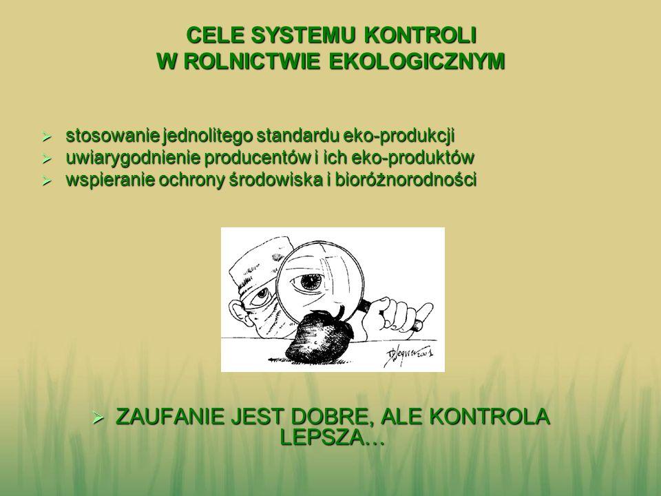 CELE SYSTEMU KONTROLI W ROLNICTWIE EKOLOGICZNYM CELE SYSTEMU KONTROLI W ROLNICTWIE EKOLOGICZNYM stosowanie jednolitego standardu eko-produkcji stosowa